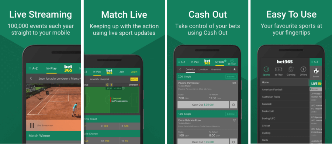 bet365 - pictures of mobile site - in action betting